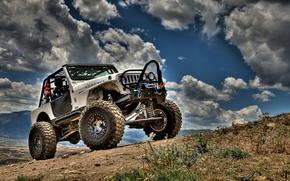 machine, SUV, clouds, gravel, Jeep