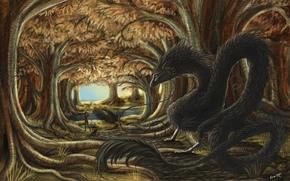 арт, фантастика, фэнтези, лес, девочка, дракон