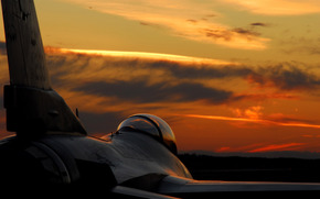fighter, wing, cabin, sunset, nice