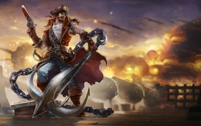man, pirate, anchor, weapon, ship, deck, Guns, fire, smoke, gun, chain