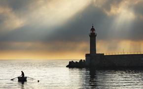 Море, человечек, лодка, закат