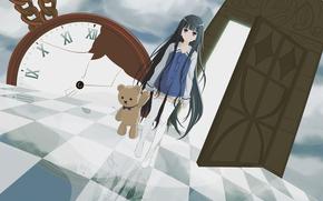 God's notebook, girl, long hair, toy, teddy bear, door, watch, debris