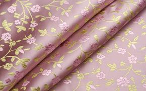 ткань, узор, цветы, завитки, складки, вышивка