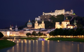 Austria, Salzburg, city, river, Salzach, bridge, wharf, Chapel, castle, home, church, Cathedral, night, lights