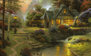 Thomas Kinkade, painting, summer, small river, evening, sunset, cottage, bench, Geese