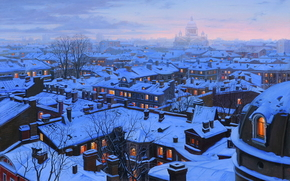 Eugene Lushpin, painting, Lushpin, city, St. Petersburg, home, Roof, Isaac, Cathedral, Winter, snow, evening