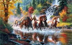 mark keathley, Horse, Horses, herd, river, waterfall, forest, autumn, Trees, Art