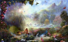 tom dubois, paradise, Birds, flamingo, Swans, Heron, Lions, Peacock, Horses, Butterflies, leopard, landscape, forest, nature, Art, Flowers