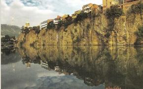 georgia, tbilisi, mtkvari, river, river, chicken, metekhi, church, church