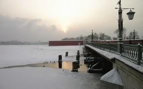 winter, Peter, St. Petersburg, snow, Bridge