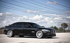 宝马, 黑色, 高压电线, 天空, 云, BMW