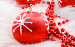 New Year, Christmas, holiday, ball, red, ball, Beads, snowflake, Christmas decorations, New Year