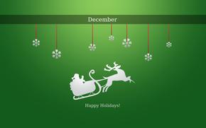Capodanno, vacanza, struttura, Babbo Natale, slitta, Fiocchi di neve, inverno, neve, cervo, Dicembre, sfondo verde, Capodanno