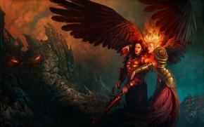 hombre, nia, alas, espada, rocas, fuego