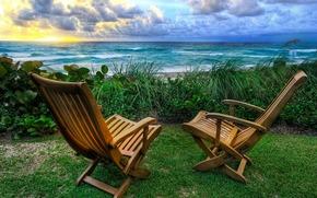 chaise, chaises, voir, Mer.