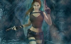lara croft, tomb raider, Лара, девушка, пистолеты