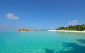 Мальдивы, сейшелы, остров, белый песок, прозрачная вода