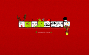minimalism, red background, squares, holiday, New Year, Deer, snowman, How the Grinch Stole Christmas, New Year