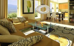 интерьер, дизайн, стиль, дом, вилла, гостиная, комната