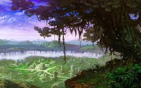 пейзаж, водопады, город, дерево, лианы, руины, остров, фантастика