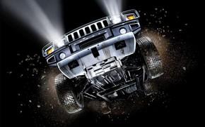 Hummer, flight, dirt