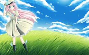 女孩, 草, 风, 云
