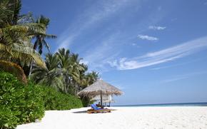 lounge, recreation, white sand, Maldives, paradise island