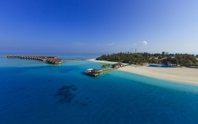 bungalows on stilts on the sea, Maldives, paradise island, Blue Water