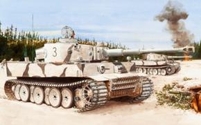 disegno, inverno, carro pesante, tigre, Lago Ladoga, fronte orientale, Wehrmacht, Tedeschi, Il Mondiale