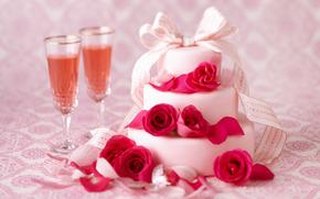 fiesta, pastel, Pastel, gafas, vino, Champn, Rosa, Flores, cinta