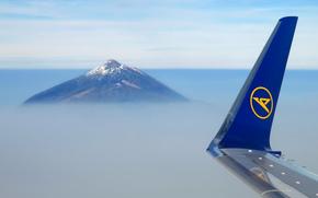 крыло, гора, облака, полет, боинг