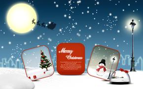 Рождество, елка, новый год, снеговик, снег, луна, иллюстрации, вектор, Новый год