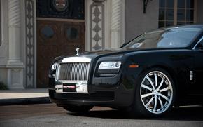 Rolls Royce, GOST, Black, front end, building, door, Other brands
