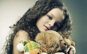 Beautiful, girl, Plush Toys, teddy-bear, photo