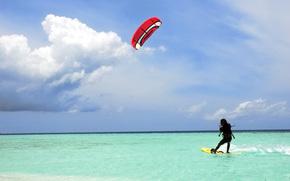 Kitesurfing, kiting, Maldive, verde acqua