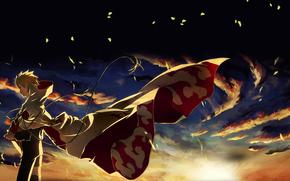 Naruto, puesta del sol, las nubes, deja, Ninja, Hokage, viento