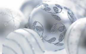 New Year, white balls, Toys, Christmas decorations, snowflake, frost, branches, patterns, holiday, New Year