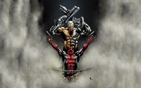 comic strip, Super Heroes, weapon, fog, sword, iron