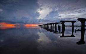 mare, cielo, tramonto, Scheletri