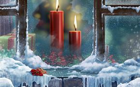 pikny, pikno, skrzynka, wiece, Boe Narodzenie, kolorowy, kolor, zamraa, kwiaty, prezent, Happy New Year, wito, adny, Wesoych wit, drogi, poinsecja, pikny, nieg, Okna, zima, Nowy Rok