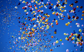 sky, Balloons, Balls, colorful
