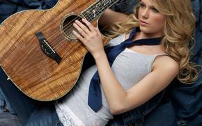 singer, blonde, guitar, tie, jeans