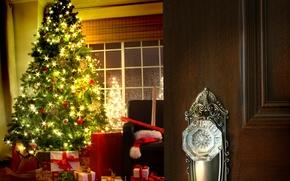 porta, camera, elegante, abete, semaforo, Fiocchi di neve, regali, finestra, sedia, rotoli, imballaggio, Carta, Capodanno