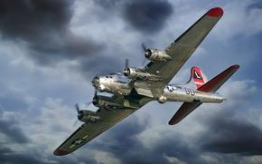 b-17, plane, sky, flying fortress, bomber