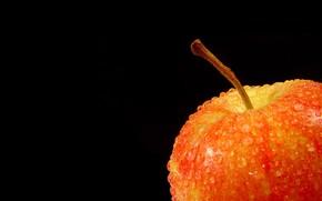 mela, gocce, Sfondo nero