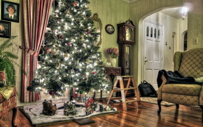 New Year, Tree, toys on the tree, situation, holiday, New Year