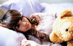 girl, toy, bear, Asian, bed, pillows, smile, sun