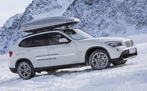 car, BMW, Winter, up, up the hill, machine, White, bmw