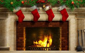 pikny, pikno, Boe Narodzenie, Bombki choinkowe, Christmas Stockings, kolorowy, kolor, zamraa, ogie, kominek, Happy New Year, wito, adny, Wesoych wit, drogi, Bardzo, Nowy Rok