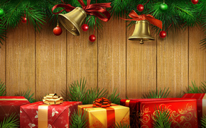 Beautiful, beauty, Bells, Bells, Gift Box, Christmas, Christmas bells, color, cool, Gifts, gold, gold, Happy New Year, holiday, cute, Merry Christmas, dear, Beautiful, red, New Year